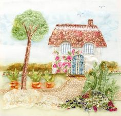 The Textile Artist: Appliqué Art by Abigail Mill (Publication: October Free Motion Embroidery, Free Motion Quilting, Embroidery Applique, Machine Embroidery, Embroidery Ideas, House Quilts, Fabric Houses, Book Crafts, Craft Books