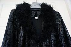 VINTAGE BLACK sparkly Dark Black EVENING Coat fluffy collar