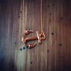 Rose Gold Plated Horizontal Anchor Necklace 16in chain by Sunray Jewels on Opensky #jewelry
