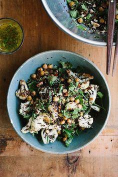 Roasted cauliflower, chickpea + quinoa salad with jalapeno lime dressing = Yum