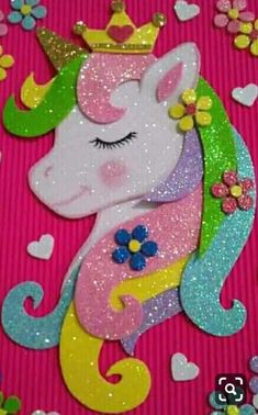 Unicorn Arts and crafts For Kids - - - Arts And Crafts For Teens, Arts And Crafts Projects, Art For Kids, Diy And Crafts, Crafts For Kids, Diy Projects, Unicorn Crafts, Unicorn Art, Foam Crafts