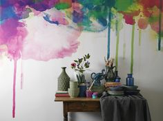 Colour drip from new wallpaper collection Watercolours. Styled by Camilla Krishnaswamy and photo by Henrik Bonnevier.