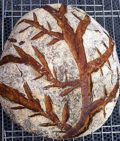 tree pattern - scoring dough - M. Edible art
