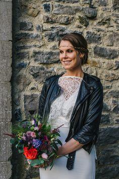 Clonabreany house wedding photography with a bride wearing a biker's jacket Irish Wedding, Best Wedding Photographers, Commercial Photography, Documentaries, Destination Wedding, Biker, Ruffle Blouse, Wedding Photography, Jacket