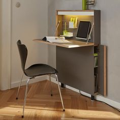 hide away wall desk for small spaces - shouldn't be too hard to diy something like this (instead of paying 1300 EUR :) (bedroom decor for small rooms organization ideas)