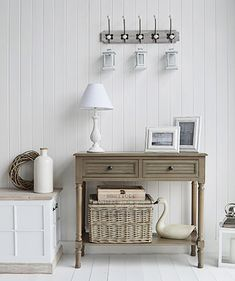 The White Lighthouse Newport French Grey console Hall table for cottage living room and Hallway furniture. How to decorate your home in Country Cottage interior decor. White Bathroom Furniture, Hall Furniture, Cottage Furniture, Living Room Furniture, Furniture Ideas, Bathroom Interior, Painted Furniture, Gray Console Table, Hallway Console