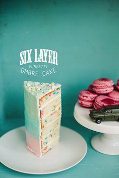 6-layer funfetti ombre cake - Call Me Cupcake!