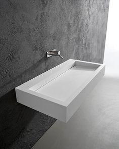 Vasque suspendue / carrée / en Corian® / contemporaine - SLOT by Nevio Tellatin - ANTONIO LUPI