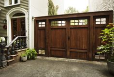 Kim Hoyt Architect Boerum Hill Project with Large Dark Wood Stained Gates, Gardenista