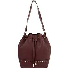 Dark Red Studded Trim Duffle Bag