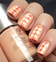 Peach polish with dots nail art (Blogger Inspired Mani: Another Bottle Of Polish?!)