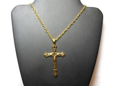 $30 - USE CODE PIN15 to get special Pinterest savings of 15% off now plus FREE shipping! #handmade, #jewelry, #coupon, #gift, #cross, #pendant, #gold, #plated, #necklace, #religious, #gift, #confirmation, #convert, #wedding