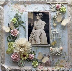 New Item Listing~ Reneabouquets-Blue Fern Studios Attic Charm Vintage Photos Premade Scrapbook Page 12 x 12, Shabby Chic, Wedding, Mixed Media, Layout