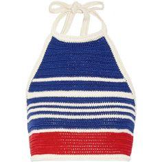 Vika Gazinskaya Vika Gazinskaya - Cropped Crocheted Cotton Halterneck... (1.055 BRL) ❤ liked on Polyvore featuring tops, crop top, shirts, tank tops, blusas, royal blue, striped shirt, striped crop top, blue shirt and royal blue top