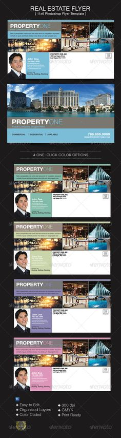 The Property One Flyer Templates are for real estate brokers or companies that need marketing material. This is a great piece to have in your template database. $5.00