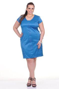 Moda feminina plus size   86698 Vestido tricotina com hotfix