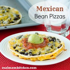 Mexican Bean Pizza. This looks great (although I think she meant 8 flour tortillas, not 6.)