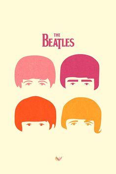 Diseño e ilustración. Poster Beatles de JONATHAN VIZCUÑA