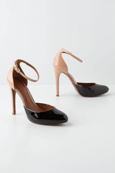 Patent black/nude ankle strap d'orsay pump by Schutz @ Anthropologie. Timeless!