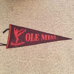 Rare 1930's SEC Football Vtg Ole Miss University of MISS Rebels felt Pennant