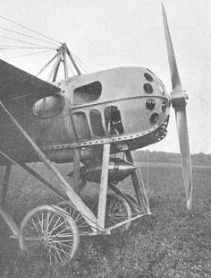 GNOME MOTOR: The Morane-Saulnier War Airplane was designed for French military use. It had a round steel body and was driven by a fourteen-cylinder 100-horsepower motor made by Gnome of France