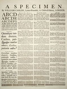 A specimen sheet of typefaces and languages, by William Caslon I, letter founder; from the 1728 en:Cyclopaedia.