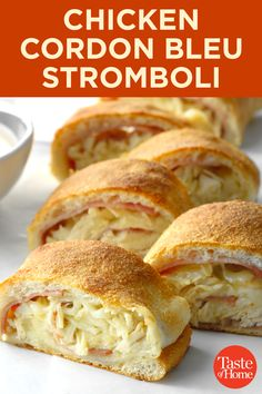 If chicken cordon bleu and stromboli had a baby, this would be it. Serve with jarred Alfredo sauce, homemade Alfredo sauce or classic Mornay sauce on the side if desired. Turkey Recipes, Chicken Recipes, Chicken Stromboli Recipe Easy, Lasagna Recipes, Appetizer Recipes, Dinner Recipes, Appetizers, Good Food, Yummy Food