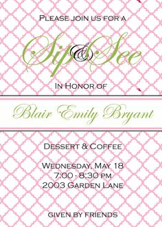 Baby Shower  Invitations - Digital File- Sip and See on Etsy, $15.00