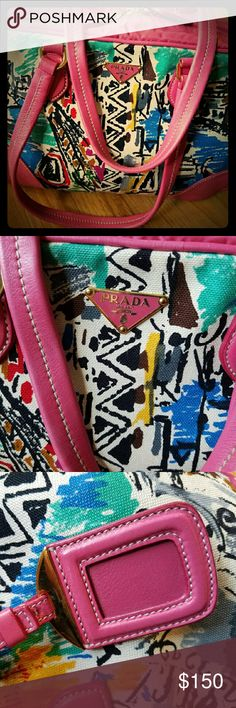 EUC Prada Pink Venice Bag Prada Venice Print Tote Bag!  Featuring sturdy canvas with a very colorful Venetian cityscape pattern and pink leather detailing. This tote has a convenient double zipper closure that opens up to a pink nylon interior and one zip pocket.  In excellent used condition. A very special handbag, make this Prada yours today! Code: 31.  Prada Pink Venice Print Canvas Tote Handbag Prada Bags Totes