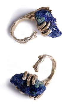 PINKMOSS azurite crystal ring, silver and gold https://www.facebook.com/pinkmossjewelry
