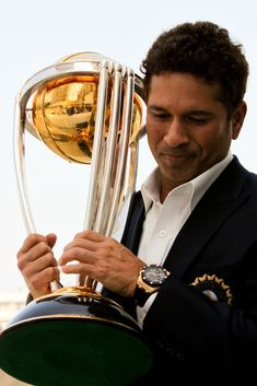Sachin Tendulkar Photos - Sachin Tendulkar of the Indian cricket team poses with the ICC Cricket World Cup Trophy during a photo call at the Taj Palace Hotel on April 2011 in Mumbai, India. - Winning Captain's Press Conference - 2011 ICC World Cup Cricket Poster, Icc Cricket, Cricket Sport, England Cricket Team, India Cricket Team, World Cup Trophy, Rugby World Cup, 2011 Cricket World Cup, History Of Cricket