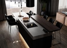 Earthy Brown And Black Decor With Rugged Rock Features & Luxurious Lighting Kitchen Wall Cabinets, Kitchen Flooring, Interior Design Services, Interior Design Kitchen, Home Gym Design, House Design, Modern Fruit Bowl, White Washing Machines, Walnut Shelves