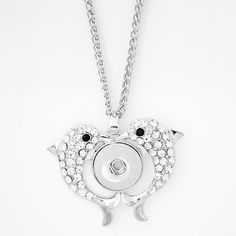 """1 Dolphin Necklace - 20"""" FITS 18MM Candy Snap Charm Jewelry Silver kb0297 CJ0183"""