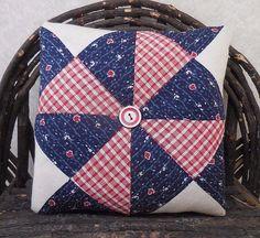 Primitive Vintage Old Handsewn Quilt Mini Pillow Tuck Americana Country Decor #NaivePrimitive #auntiemeowsatticprims