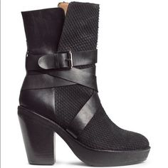 Heeled Biker Moto Boots Straps And Buckle