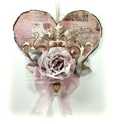 Cards, Altered Art, Tutorials, Videos, Scrapbooking Paper Crafts by Linda Duke Love Valentines, Valentine Heart, Valentine Day Cards, Heart Diy, Heart Crafts, Shabby Chic Hearts, Scrapbook Paper Crafts, Love Cards, Altered Art