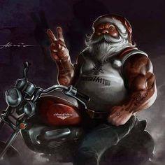 Santa on a Harley looks bad ass look at the size of the arms Santa Motorcycle Art, Bike Art, Motorcycle Humor, David Mann Art, Merry Christmas, Christmas Humor, Christmas Ideas, Black Christmas, Christmas Scenes