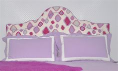 amanda nisbet--what a headboard fabric! Bold choice.
