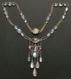 Antique Moonstone & Gold Necklace #Antiques #Jewelry