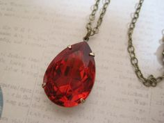 Vintage Glass Teardrop Large Jewel by dfoxjewelrydesigns on Etsy, $24.95