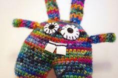 Multicolored wool rabbit
