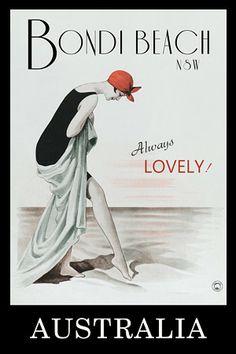 A Vintage Travel Poster with 'Bondi Beach' as the teaser. Art Deco Posters, Poster Prints, Retro Posters, Vintage Advertisements, Vintage Ads, Vintage Magazines, Vintage Photos, Bondi Beach Australia, Melbourne Australia