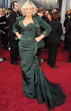 Glenn Close in custom Zac Posen on the red carpet at the 2012 Oscars
