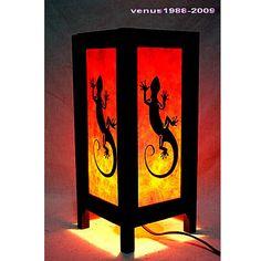 Oriental zen bedside table lamp lantern lampshade / home yard garden decor housewares furniture / night light lighting shades lizzard TBM29
