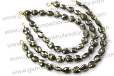 Pyrite Faceted Pear St.Drill Quality A / by GemstoneWholesaler, $27.00