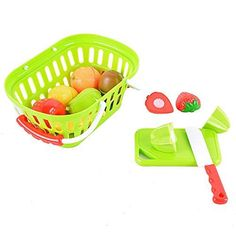 GlowSol 11-Piece Plastic Cutting Fruits Set with Basket Play Food Set for Pretend Play