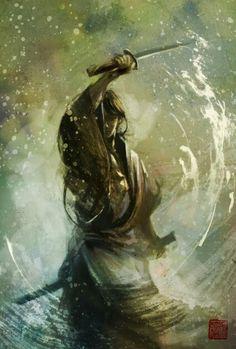 Samurai flowing like water