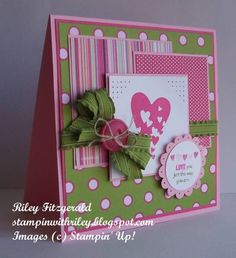 Supplies List:  Paper: Pretty in Pink CS, Melon Mambo CS, Whisper White CS, Cheerful Treat DP (retired)  Ink: Melon Mambo, Pretty in Pink (marker), Lucky Limeade (marker)  Stamps: Sprinkled Expressions   Accessories: Melon Mambo Button, Lucky Limeade Ruffled Ribbon, Linen Thread, Scallop Circle Punch, 1 3/8'' Circle Punch, Paper Piercer