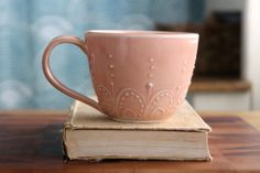 Large Pottery Mug  Ceramic Coffee Cup  Pastel by BackBayPottery