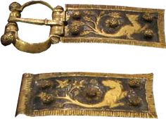 Gold and silver belt buckle from a wall tomb,Italy - 12/13th century